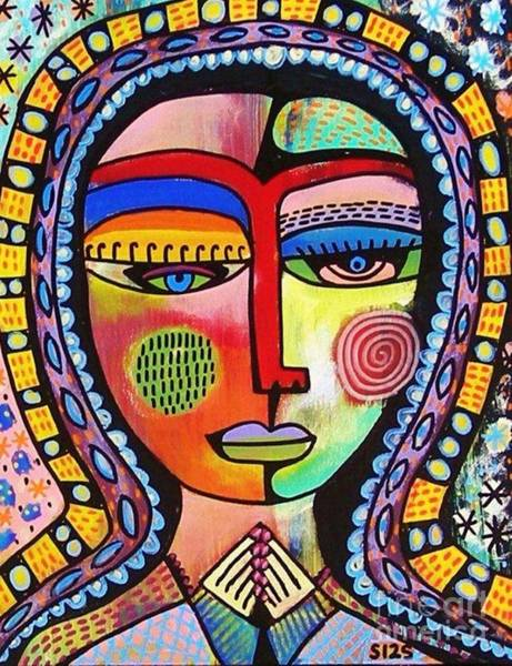 Painting - -talavera Virgin Of Guadalupe Enlightenment by Sandra Silberzweig