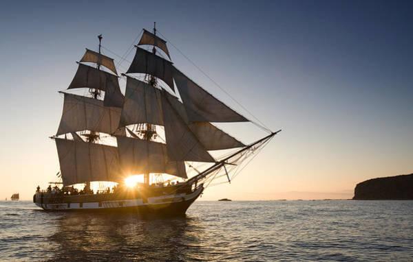 Photograph - Tall Ship At Sunset by Cliff Wassmann