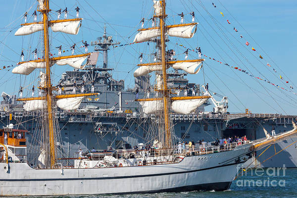 Photograph - Tall Ship Guayas Salutes The Uss Wasp by Susan Cole Kelly