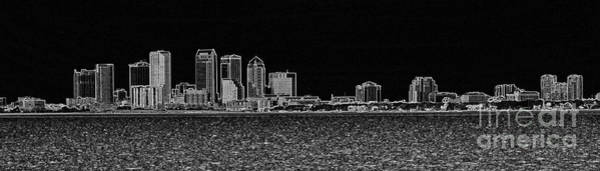 Photograph - Tampa Panorama Digital - Black And White by Carol Groenen