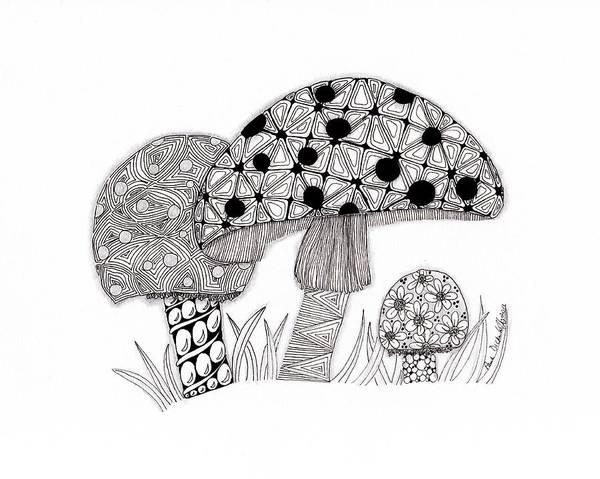 Zen Drawing - Tangled Mushrooms by Paula Dickerhoff