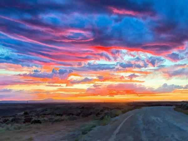 Digital Art - Taos Sunset As Oil by Charles Muhle