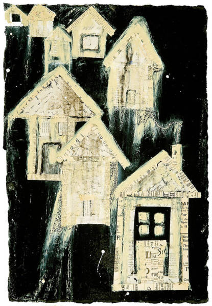 Spatter Mixed Media - Tar Paper Houses I by Regina Thomas