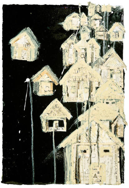 Spatter Mixed Media - Tar Paper Houses II by Regina Thomas