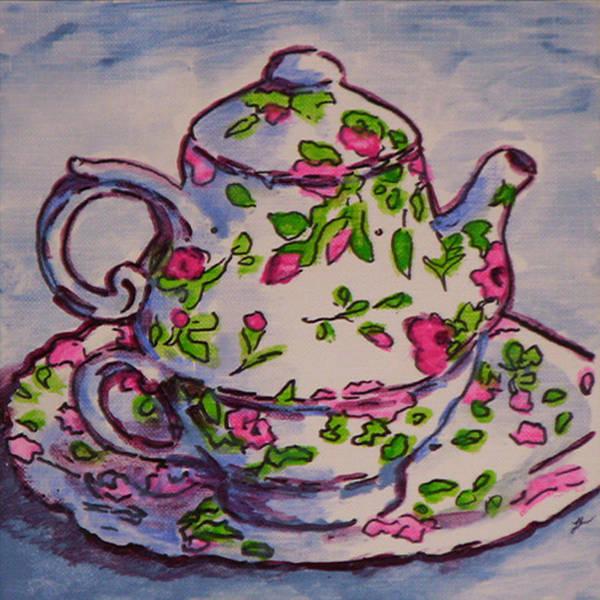 Wall Art - Painting - Tea Set Sketch 1 by Laura Heggestad