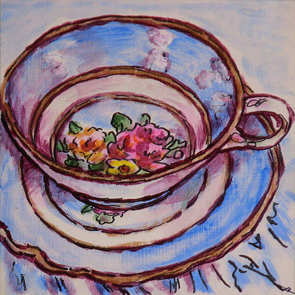 Wall Art - Painting - Tea Set Sketch 2 by Laura Heggestad