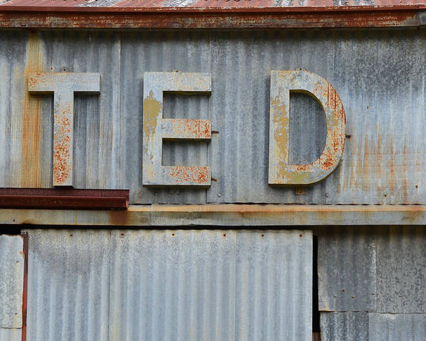 Wall Art - Photograph - Ted Rusty Name Sign Art by Nikki Marie Smith