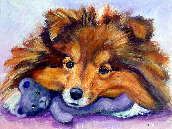 Teddy Bear Painting - Teddy Bear Love - Shetland Sheepdog by Lyn Cook