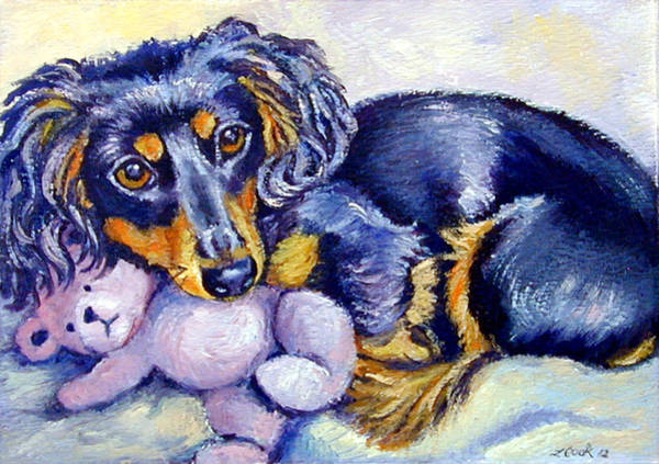 Teddy Bear Painting - Teddy Cuddles - Dachshund by Lyn Cook