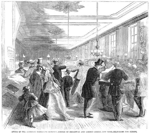 Photograph - Telegraph Office, 1866 by Granger