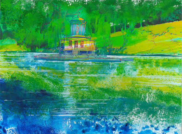 River Scene Mixed Media - Temple On An Island by David Bates