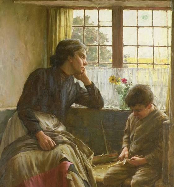 Carving Painting - Tender Grace Of A Day That Is Dead by Walter Langley