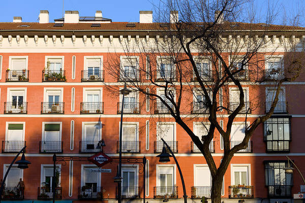 Tenement Photograph - Tenement House Facade In Madrid by Artur Bogacki