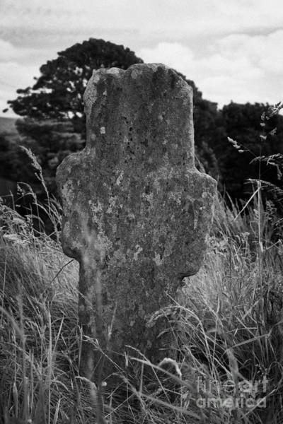 Boundary County Photograph - Termon Old Stone Cross At 12th Century Banagher Old Church County Derry by Joe Fox