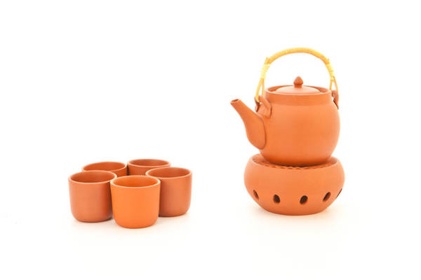 Brewing Photograph - Terracotta Tea Set by Tom Gowanlock