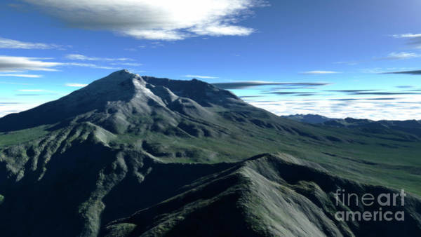 Digital Art - Terragen Render Of Mt. St. Helens by Rhys Taylor