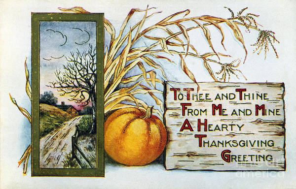 Photograph - Thanksgiving Card, 1912 by Granger