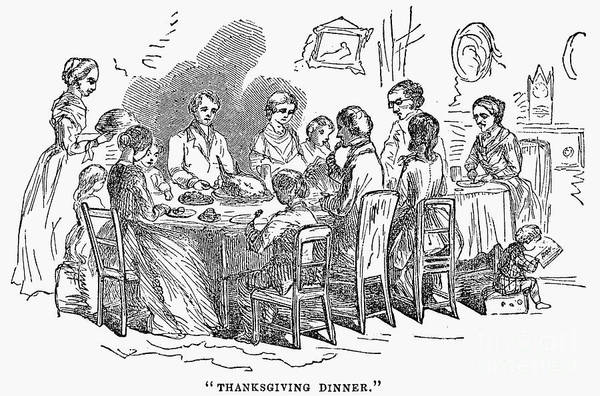 Photograph - Thanksgiving Dinner, 1850 by Granger