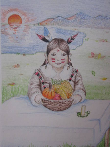 Indian Corn Drawing - Thanksgiving Feast by Morgan Walsh