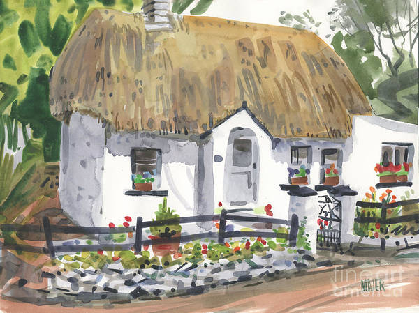 Screen Painting - Thatched Roof Cottage by Donald Maier