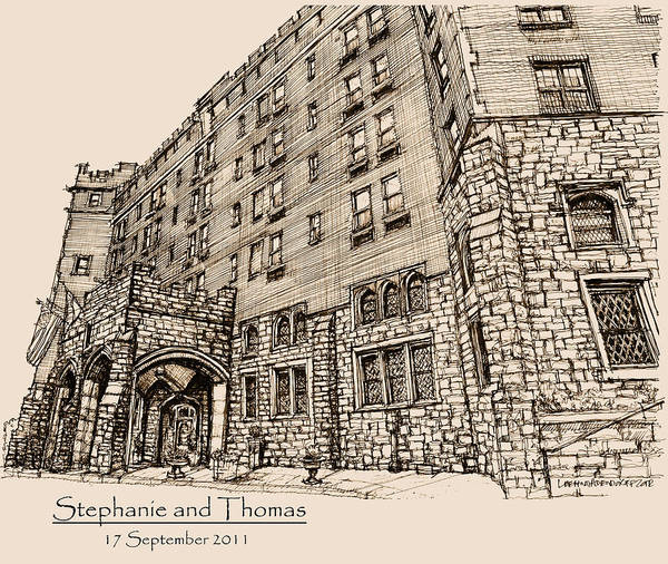 Upstate New York Wall Art - Drawing - Thayer Hotel For Steph And Thomas by Building  Art
