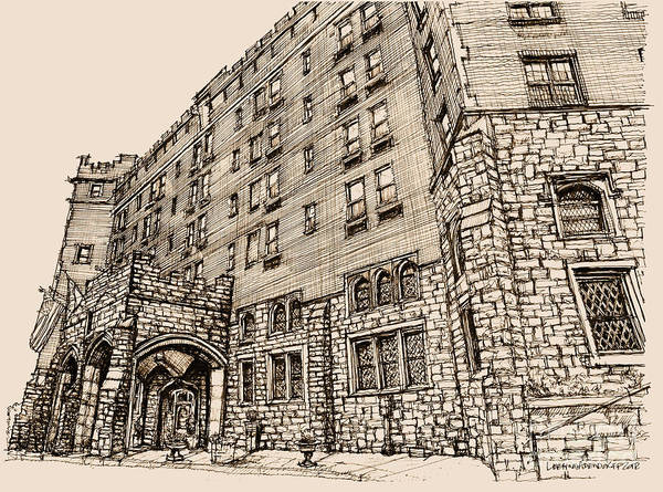 Hotel Drawing - Thayer Hotel In Pink by Building  Art