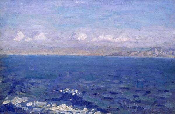 Sea Land Painting - The Albanian Sea by Laurits Regner Tuxen