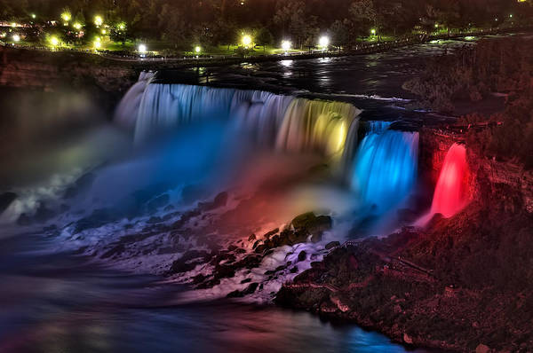 Photograph - The American Falls Illuminated With Colors by Mark Whitt