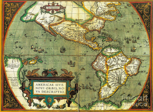 Photograph - The Americas, 1584 by Photo Researchers