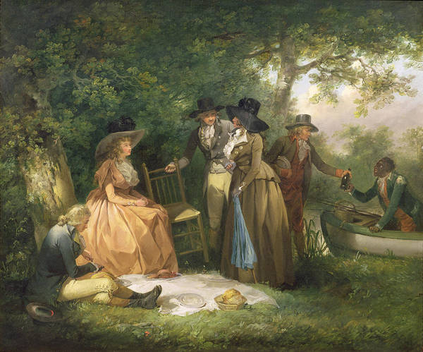Blanket Painting - The Angler's Repast  by George Morland