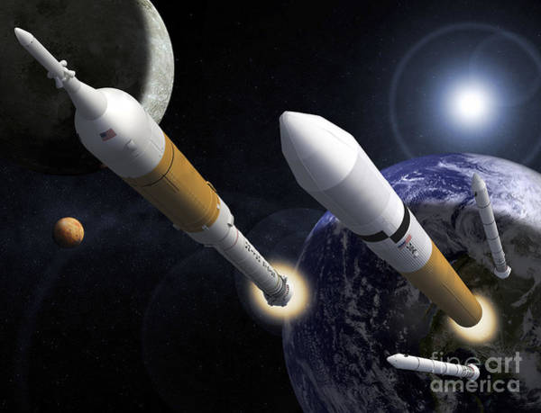 Orion Digital Art - The Ares I Crew Launch Vehicle by Stocktrek Images