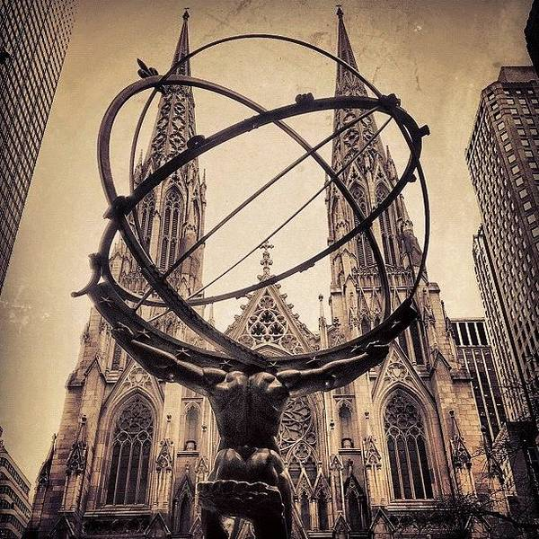 Religious Wall Art - Photograph - The Atlas & St. Patrick's Cathedral - by Joel Lopez