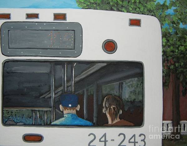 Montreal Scenes Painting - The Back Of The Bus by Reb Frost