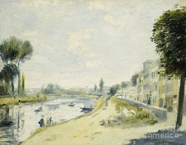 Tall Buildings Painting - The Banks Of The Seine At Bougival by Pierre Auguste Renoir