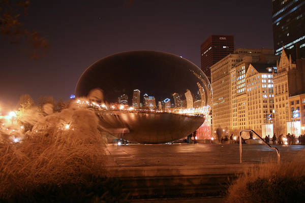 Photograph - The Bean On A Winter Night by Laura Kinker