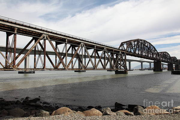 Carquinez Bridge Wall Art - Photograph - The Benicia-martinez Train Bridge In California - 5d18675 by Wingsdomain Art and Photography