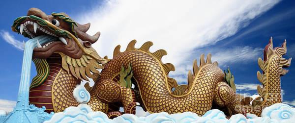 Chinese New Year Photograph - The Big Golden Dragon by Anek Suwannaphoom