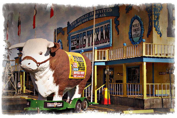 Wall Art - Photograph - The Big Texan - Impressions by Ricky Barnard