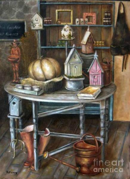 Wall Art - Painting - The Birdhouses by Patricia Lang