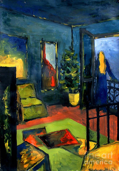 Window Frame Painting - The Blue Room by Mona Edulesco