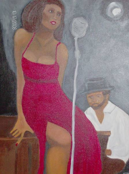 Katherine Green Wall Art - Painting - The Blues Singer by Katherine Green