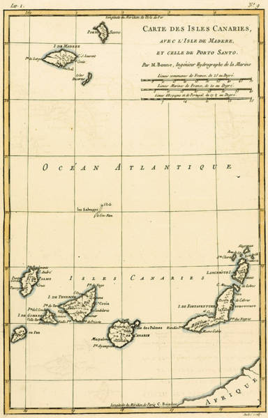 Atlantic Drawing - The Canary Islands by Guillaume Raynal