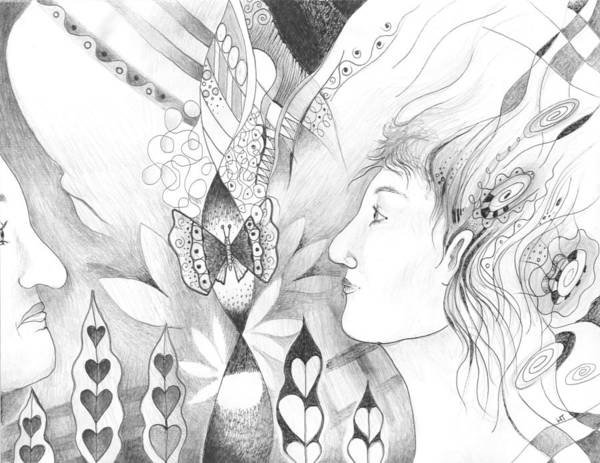 Organic Form Drawing - The Change And The Changing by Helena Tiainen
