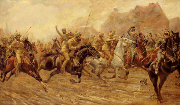 Lance Painting - The Charge Of The Bengal Lancers At Neuve Chapelle by Derville Rowlandson