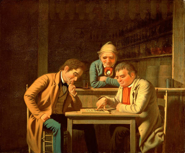 Tavern Painting - The Checker Players by George Caleb Bingham