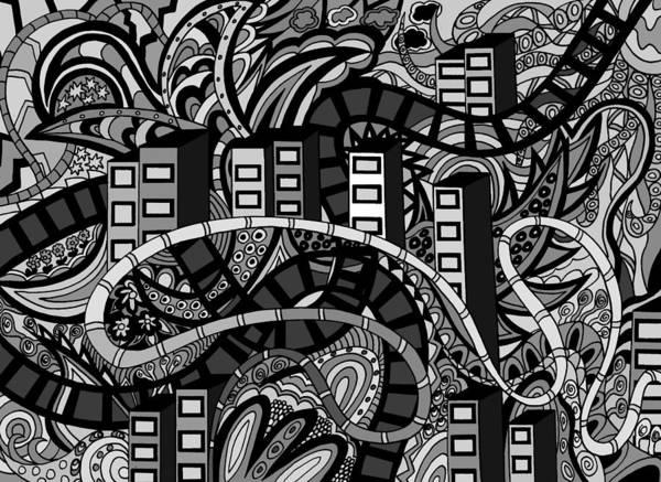 Wall Art - Drawing - The City by Karen Elzinga