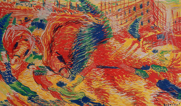Urban Life Painting - The City Rises by Umberto Boccioni