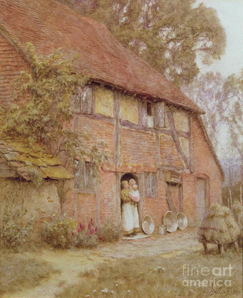 Half Timbered Painting - The Cottage With Beehives by Helen Allingham