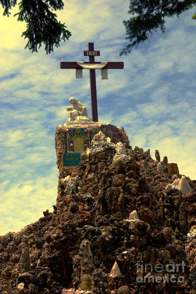Inri Wall Art - Photograph - The Cross IIi In The Grotto In Iowa by Susanne Van Hulst