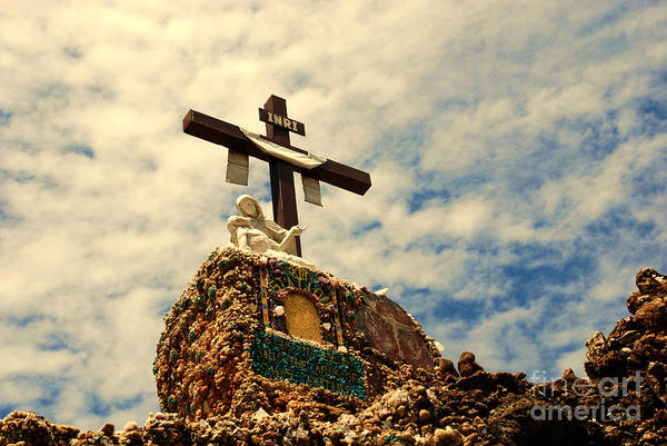 Inri Wall Art - Photograph - The Cross In The Grotto In Iowa by Susanne Van Hulst